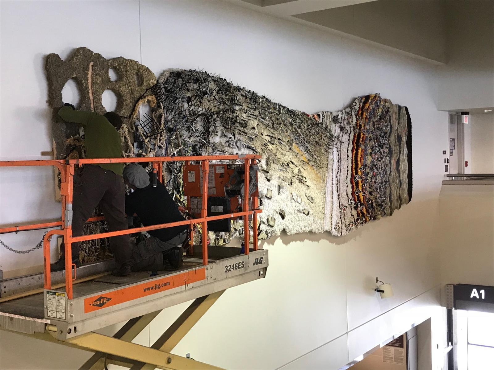 "Installation of ""Biography"" at Albany International Airport  2018.   You may learn more about Biography under Studio Projects at the menu on your left."
